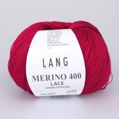 Merino 400 Lace Wolle Lang Yarns 061 ROT MELANGE