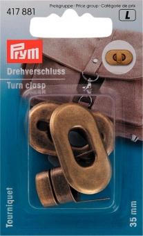 Drehverschluss für Taschen 35 x 20 mm 417881 altmessing