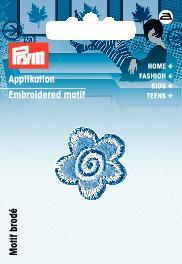 Applikation Blume blau/weiß