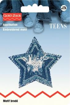 Applikation Jeans Stern silber glänzend