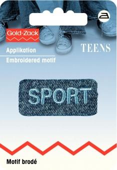 Applikation Jeanslabel Sport