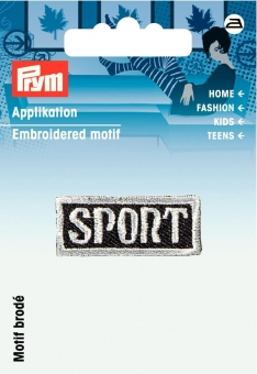 Applikation Label Sport grau