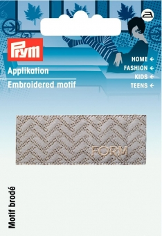 Applikation Label FORM grau