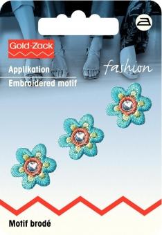 Applikation Blume klein türkis