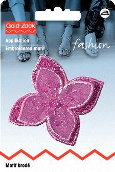 Applikation Blume pink Organza mit Perlen