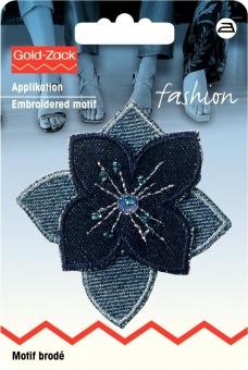 Applikation Blume blau Jeans mit Perlen