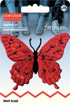 Applikation Schmetterling exclusiv rot mit Perlen