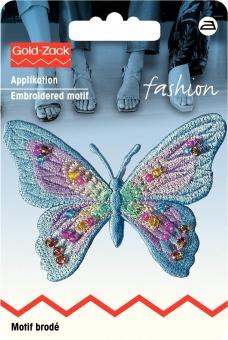 Applikation Schmetterling exclusiv blau pastell mit Perlen