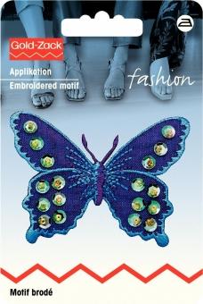 Applikation Schmetterling violett/blau mit Pailletten