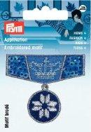 Applikation Abzeichen mit Krone blau