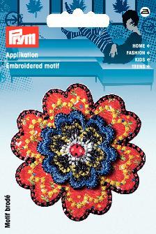 Applikation Blume rot/bunt