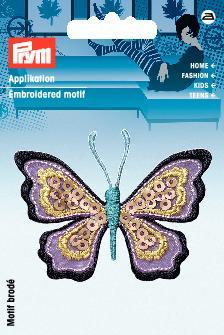 Applikation Schmetterling lila/bunt mit Pailletten