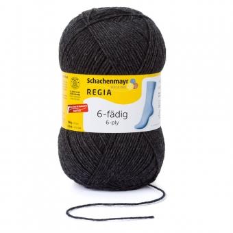 Regia 150g-Knäuel 6-fädig Uni Sockenwolle 00522 anthrazit meliert