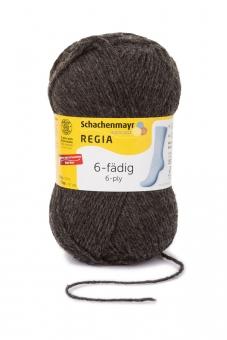 Regia 6-fädig Uni Sockenwolle 50g 522 anthrazit meliert