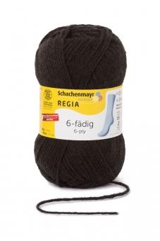 Regia 6-fädig Uni Sockenwolle 50g 2066 schwarz