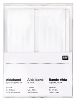 Aida-Band zum Besticken Doppelpack weiss