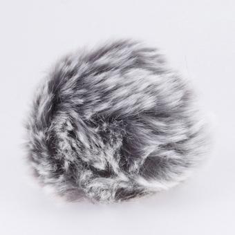 Kunstfell Pompon von Rico 10cm 027 grau-silber