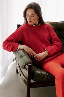 Strickset Pullover glatt rechts mit Rollblende Brigitte No. 2