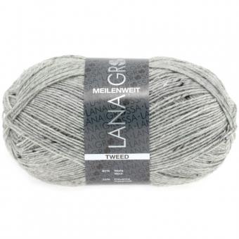 Meilenweit 100 Tweed Lana Grossa Sockenwolle 110 Grau meliert