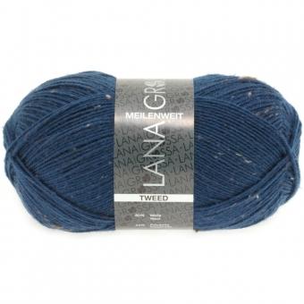 Meilenweit 100 Tweed Lana Grossa Sockenwolle 128 dunkles Petrolblau