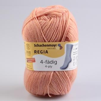 Regia 4-fädig 100g Uni Sockenwolle 02242 apricot meliert
