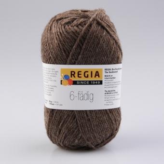 Regia 6-fädig Uni Sockenwolle 2140 borke meliert