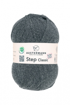 Step Classic 4-fädig 100g Sockenwolle Austermann 1038 anthra mel.