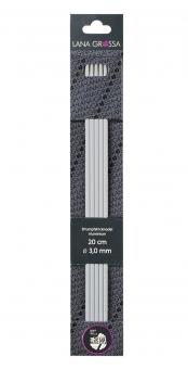 Strumpfstricknadel Aluminium perlgrau von Lana Grossa