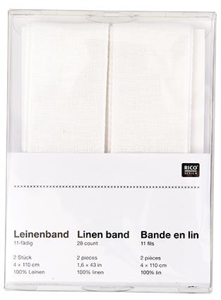 Leinenband 11-fädig Doppelpack zum Besticken weiss