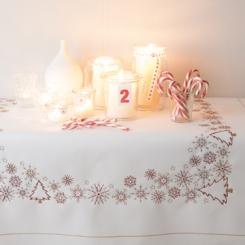 Vorgezeichnete Tischdecke Eiskristalle weiß