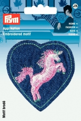 Applikation Patch Herz mit Einhorn