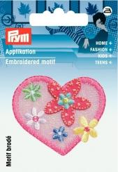 Applikation Herz mit Blumen