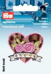 Applikation Herz rosa/Leomuster