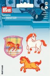 Applikation  Pferde orange/weiß