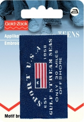 Applikation Jeanslabel Sport USA
