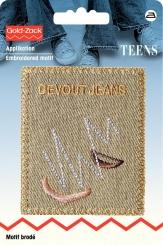 Applikation Label Devout Jeans Leinen beige