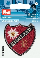 Applikation Patch HIGHLAND rot mit Edelweiß