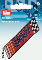 Applikation Label SPORT Lederimitat rot