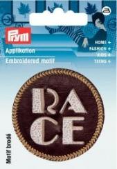 Applikation Label RACE Lederimitat braun