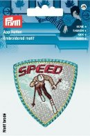 Applikation Label SPEED grau/blau