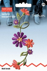 Applikation Blumenranke groß lila/terracotta