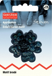 Applikation Paillettenblume schwarz