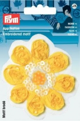 Applikation Blume Satin gelb