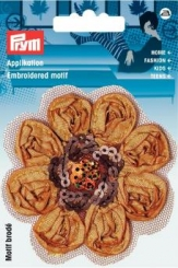 Applikation Blume Satin braun