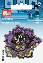 Applikation Blume lila/bunt mit Pailletten